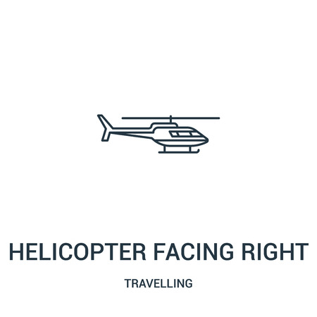 helicopter facing right icon vector from travelling collection. Thin line helicopter facing right outline icon vector illustration. Linear symbol for use on web and mobile apps, logo, print media. Illustration