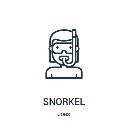 snorkel icon vector from jobs collection. Thin line snorkel outline icon vector illustration. Linear symbol for use on web and mobile apps, logo, print media.