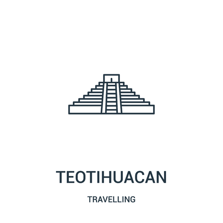teotihuacan icon vector from travelling collection. Thin line teotihuacan outline icon vector illustration. Linear symbol for use on web and mobile apps, logo, print media. Çizim