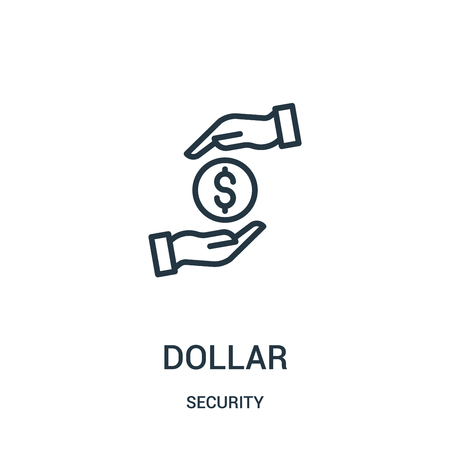 dollar icon vector from security collection. Thin line dollar outline icon vector illustration. Linear symbol for use on web and mobile apps, logo, print media.