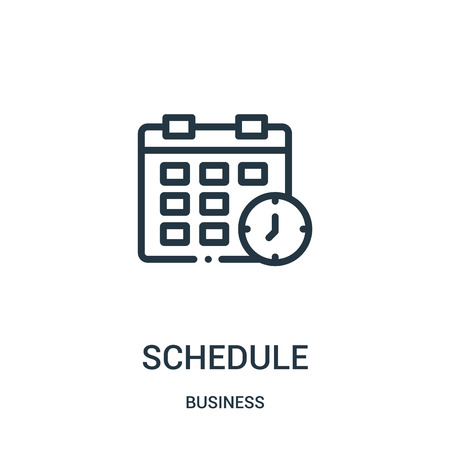 schedule icon vector from business collection. Thin line schedule outline icon vector illustration. Linear symbol for use on web and mobile apps, logo, print media.
