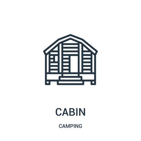 cabin icon vector from camping collection. Thin line cabin outline icon vector illustration. Linear symbol for use on web and mobile apps, logo, print media. Ilustração