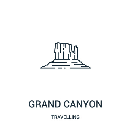 grand canyon icon vector from travelling collection. Thin line grand canyon outline icon vector illustration. Linear symbol for use on web and mobile apps, logo, print media. Illustration