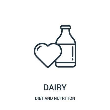 dairy icon vector from diet and nutrition collection. Thin line dairy outline icon vector illustration. Linear symbol for use on web and mobile apps, logo, print media.