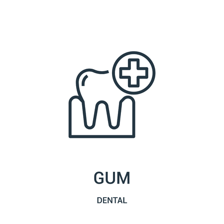 gum icon vector from dental collection. Thin line gum outline icon vector illustration. Linear symbol for use on web and mobile apps, logo, print media. Illustration