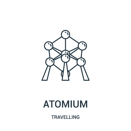 atomium icon vector from travelling collection. Thin line atomium outline icon vector illustration. Linear symbol for use on web and mobile apps, logo, print media.