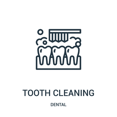 tooth cleaning icon vector from dental collection. Thin line tooth cleaning outline icon vector illustration. Linear symbol for use on web and mobile apps, logo, print media.