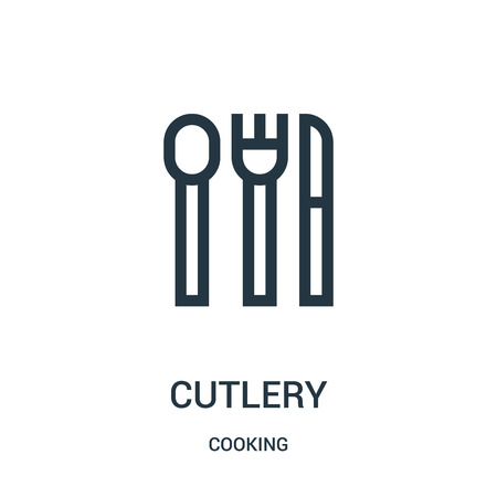 cutlery icon vector from cooking collection. Thin line cutlery outline icon vector illustration. Linear symbol for use on web and mobile apps, logo, print media.