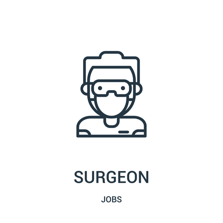 surgeon icon vector from jobs collection. Thin line surgeon outline icon vector illustration. Linear symbol for use on web and mobile apps, logo, print media.