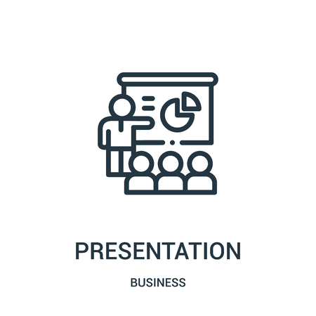 presentation icon vector from business collection. Thin line presentation outline icon vector illustration. Linear symbol for use on web and mobile apps, logo, print media.
