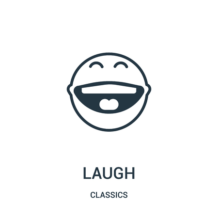 laugh icon vector from classics collection. Thin line laugh outline icon vector illustration. Linear symbol for use on web and mobile apps, logo, print media.