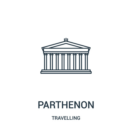 parthenon icon vector from travelling collection. Thin line parthenon outline icon vector illustration. Linear symbol for use on web and mobile apps, logo, print media. ЛОГОТИПЫ