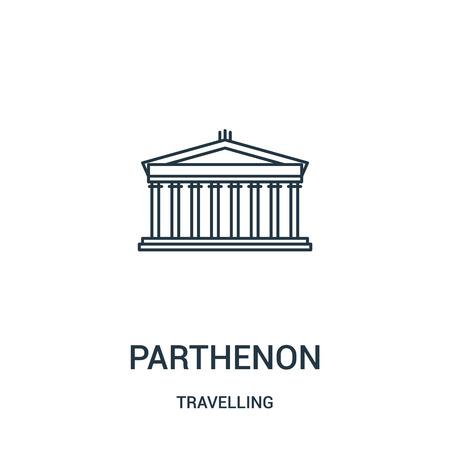 Parthenon-Symbolvektor aus der reisenden Sammlung. Dünne Linie Parthenon Umriss Symbol Vektor-Illustration. Lineares Symbol für die Verwendung in Web- und mobilen Apps, Logo, Printmedien. Logo