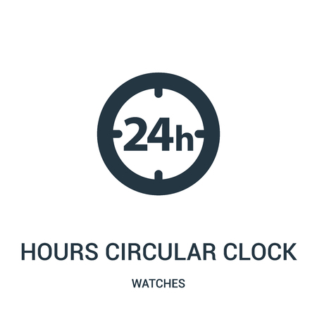 hours circular clock symbol icon vector from watches collection. Thin line hours circular clock symbol outline icon vector illustration. Linear symbol for use on web and mobile apps, logo, print media.