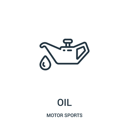 oil icon vector from motor sports collection. Thin line oil outline icon vector illustration. Linear symbol for use on web and mobile apps, logo, print media.
