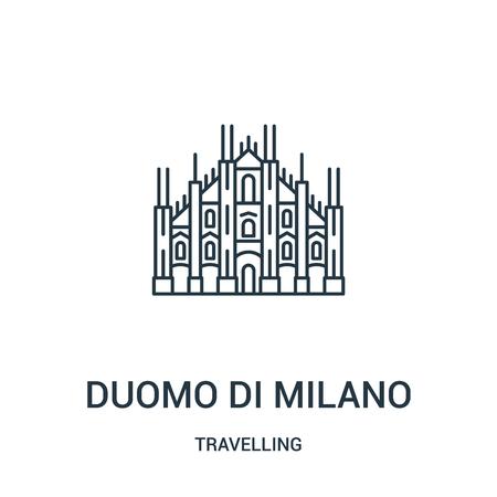 Duomo di Milano wektor ikona z kolekcji podróżnej. Cienka linia duomo di milano zarys ikony ilustracja wektorowa. Symbol liniowy do użytku w aplikacjach internetowych i mobilnych, logo, mediach drukowanych. Logo