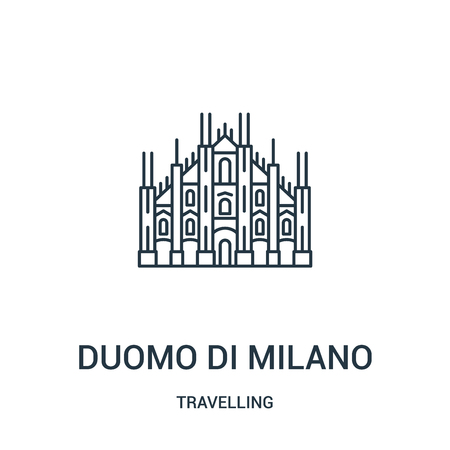 duomo di milano icon vector from travelling collection. Thin line duomo di milano outline icon vector illustration. Linear symbol for use on web and mobile apps, logo, print media.