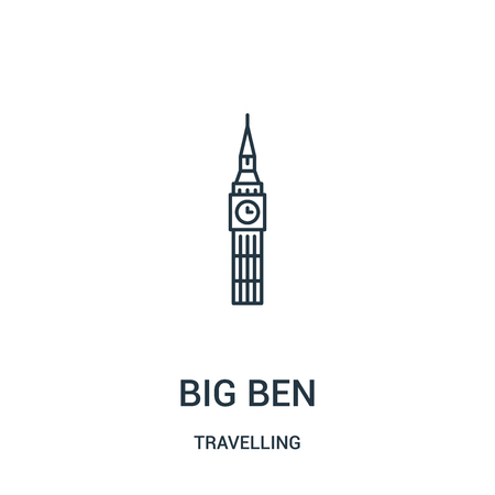 big ben icon vector from travelling collection. Thin line big ben outline icon vector illustration. Linear symbol for use on web and mobile apps, logo, print media.