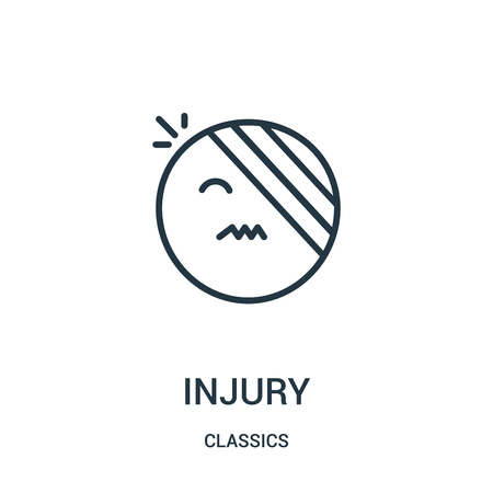 injury icon vector from classics collection. Thin line injury outline icon vector illustration. Linear symbol for use on web and mobile apps, logo, print media.