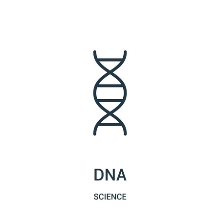 dna icon vector from science collection. Thin line dna outline icon vector illustration. Linear symbol for use on web and mobile apps, logo, print media.