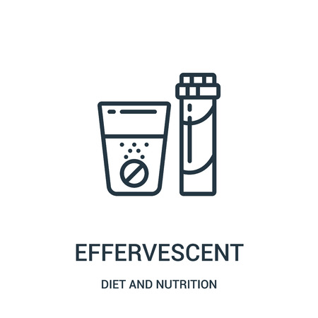 effervescent icon vector from diet and nutrition collection. Thin line effervescent outline icon vector illustration. Linear symbol for use on web and mobile apps, logo, print media. Ilustração