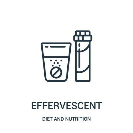 vecteur d'icône effervescent de la collection alimentation et nutrition. Fine ligne contour effervescent icône vector illustration. Symbole linéaire à utiliser sur les applications Web et mobiles, le logo, les supports imprimés.