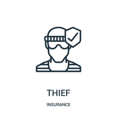 thief icon vector from insurance collection. Thin line thief outline icon vector illustration. Linear symbol for use on web and mobile apps, logo, print media.