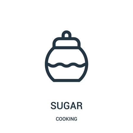sugar icon vector from cooking collection. Thin line sugar outline icon vector illustration. Linear symbol for use on web and mobile apps, logo, print media. Vectores