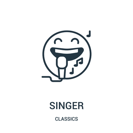 singer icon vector from classics collection. Thin line singer outline icon vector illustration. Linear symbol for use on web and mobile apps, logo, print media. Vettoriali
