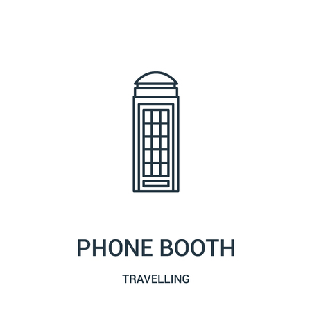 phone booth icon vector from travelling collection. Thin line phone booth outline icon vector illustration. Linear symbol for use on web and mobile apps, logo, print media.