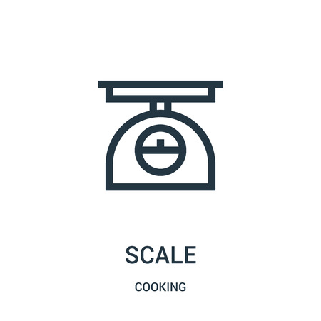 scale icon vector from cooking collection. Thin line scale outline icon vector illustration. Linear symbol for use on web and mobile apps, logo, print media. Ilustração