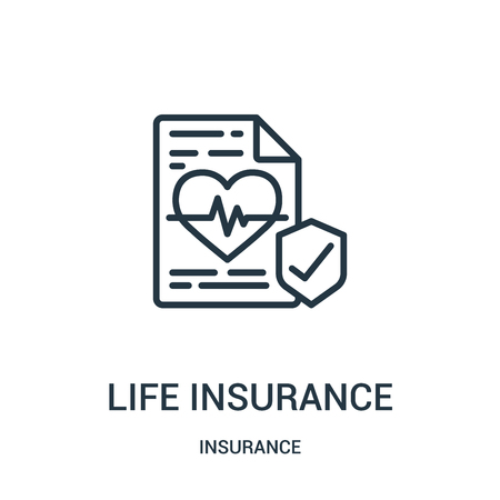 life insurance icon vector from insurance collection. Thin line life insurance outline icon vector illustration. Linear symbol for use on web and mobile apps, logo, print media. Çizim