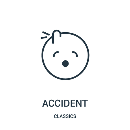 accident icon vector from classics collection. Thin line accident outline icon vector illustration. Linear symbol for use on web and mobile apps, logo, print media.