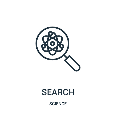search icon vector from science collection. Thin line search outline icon vector illustration. Linear symbol for use on web and mobile apps, logo, print media.