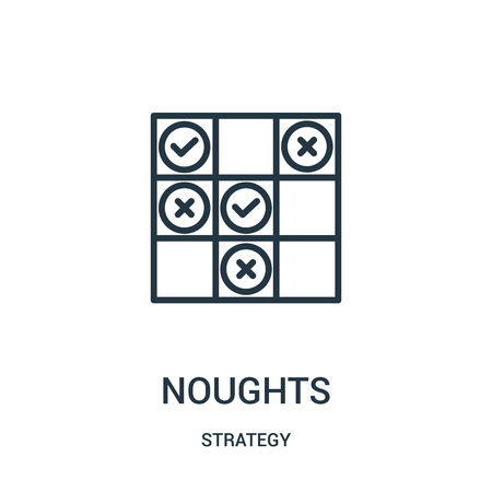 noughts icon vector from strategy collection. Thin line noughts outline icon vector illustration. Linear symbol for use on web and mobile apps, logo, print media.