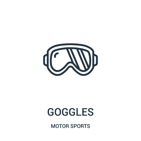 goggles icon vector from motor sports collection. Thin line goggles outline icon vector illustration. Linear symbol for use on web and mobile apps, logo, print media.