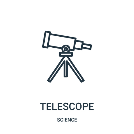 telescope icon vector from science collection. Thin line telescope outline icon vector illustration. Linear symbol for use on web and mobile apps, logo, print media.