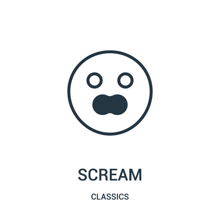 scream icon vector from classics collection. Thin line scream outline icon vector illustration. Linear symbol for use on web and mobile apps, logo, print media.