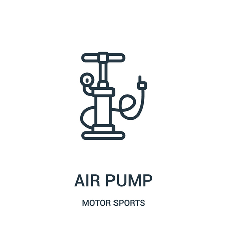 air pump icon vector from motor sports collection. Thin line air pump outline icon vector illustration. Linear symbol for use on web and mobile apps, logo, print media.