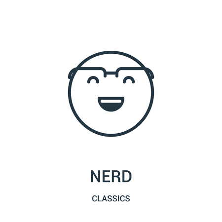 nerd icon vector from classics collection. Thin line nerd outline icon vector illustration. Linear symbol for use on web and mobile apps, logo, print media.