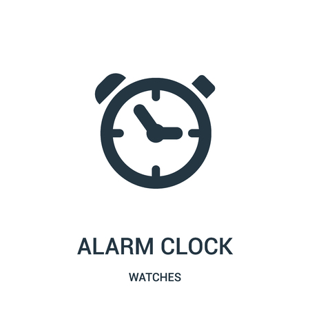 alarm clock icon vector from watches collection. Thin line alarm clock outline icon vector illustration. Linear symbol for use on web and mobile apps, logo, print media.