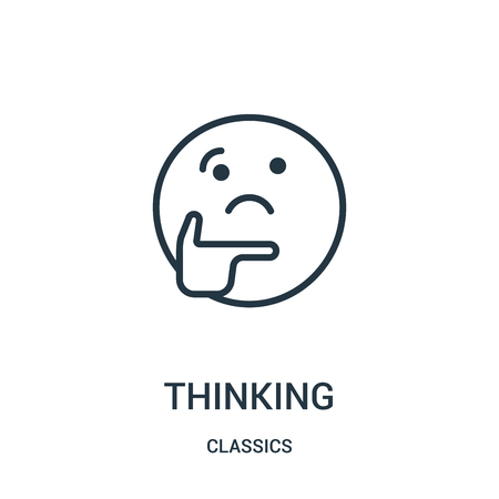 thinking icon vector from classics collection. Thin line thinking outline icon vector illustration. Linear symbol for use on web and mobile apps, logo, print media. Vettoriali