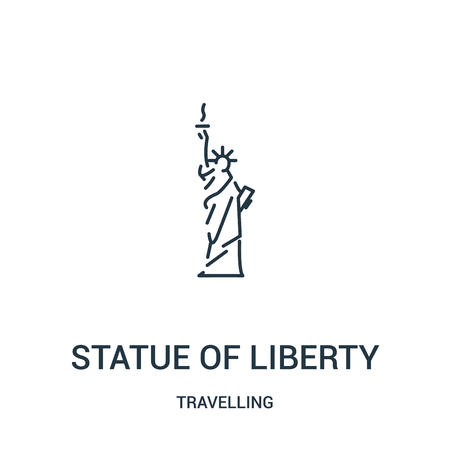 statue of liberty icon vector from travelling collection. Thin line statue of liberty outline icon vector illustration. Linear symbol for use on web and mobile apps, print media.