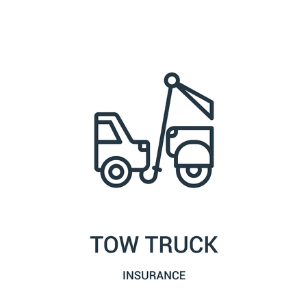 tow truck icon vector from insurance collection. Thin line tow truck outline icon vector illustration. Linear symbol for use on web and mobile apps, logo, print media.