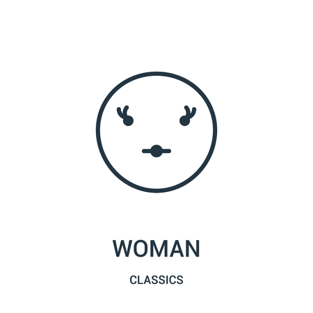 woman icon vector from classics collection. Thin line woman outline icon vector illustration. Linear symbol for use on web and mobile apps, logo, print media. Logo