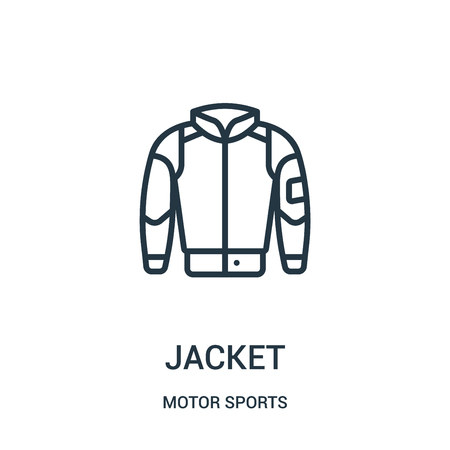 jacket icon vector from motor sports collection. Thin line jacket outline icon vector illustration. Linear symbol for use on web and mobile apps, logo, print media.