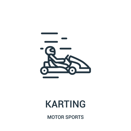 karting icon vector from motor sports collection. Thin line karting outline icon vector illustration. Linear symbol for use on web and mobile apps, logo, print media. Stockfoto - 124035329