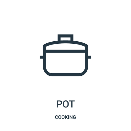 pot icon vector from cooking collection. Thin line pot outline icon vector illustration. Linear symbol for use on web and mobile apps, logo, print media.