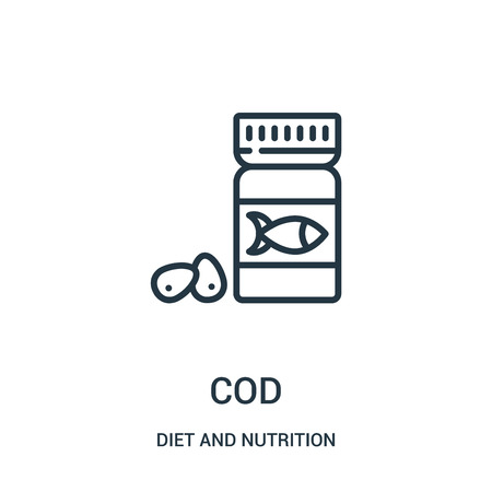 cod icon vector from diet and nutrition collection. Thin line cod outline icon vector illustration. Linear symbol for use on web and mobile apps, logo, print media.