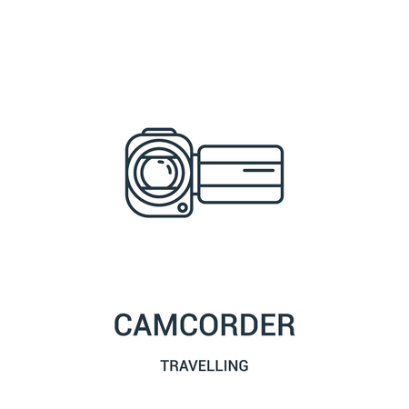 camcorder icon vector from travelling collection. Thin line camcorder outline icon vector illustration. Linear symbol for use on web and mobile apps, logo, print media.